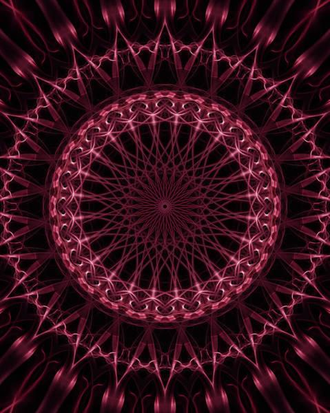 Digital Art - Pink And Red Glowing Mandala by Jaroslaw Blaminsky