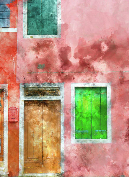 Photograph - Pink And Red House In Burano Italy Near Venice by Brandon Bourdages