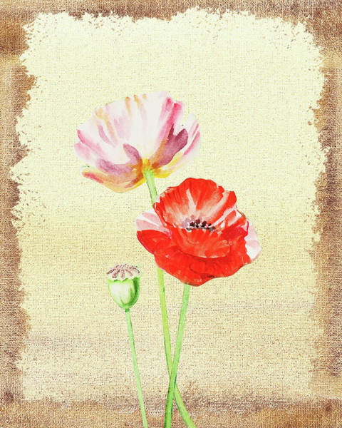 Painting - Pink And Red Poppies by Irina Sztukowski
