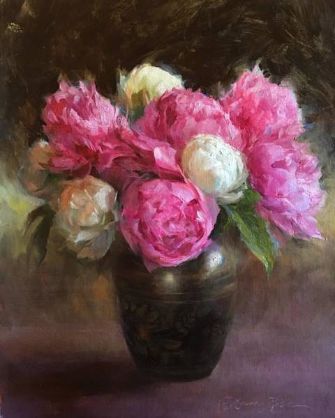 Still-life Painting - Pink And White Peonies by Anna Rose Bain