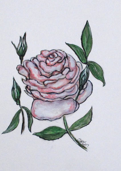 Painting - Pink And White Rose by Clyde J Kell