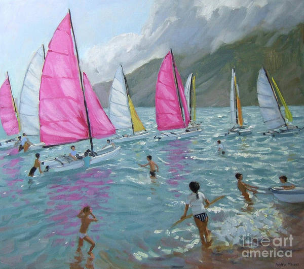Wall Art - Painting - Pink And White Sails, Lefkas by Andrew Macara