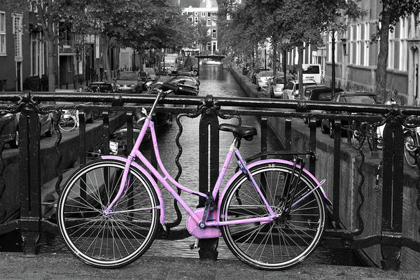 Photograph - Pink Bicycle By The Canal by Aidan Moran