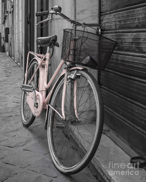 Wall Art - Photograph - Pink Bicycle In Rome by Edward Fielding