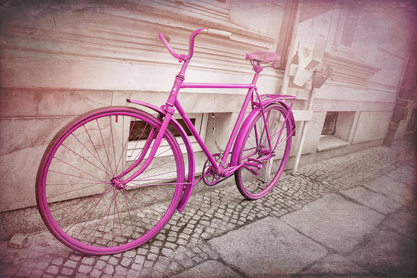 Wall Art - Photograph - Pink Bicycle In Wroclaw Poland Old Town  by Carol Japp