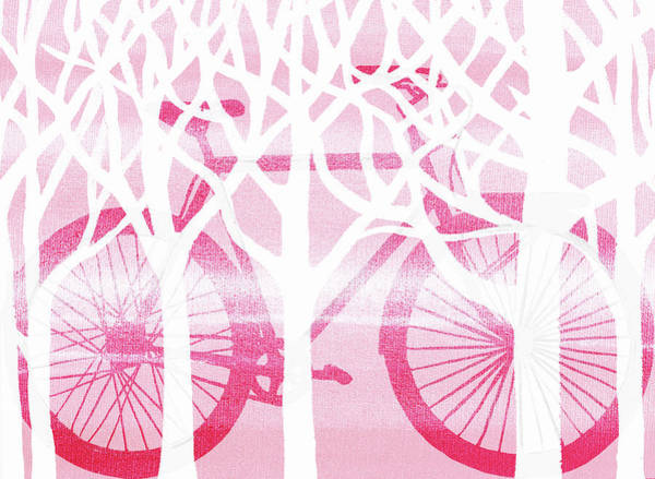 Painting - Pink Bicycle White Forest Silhouette by Irina Sztukowski