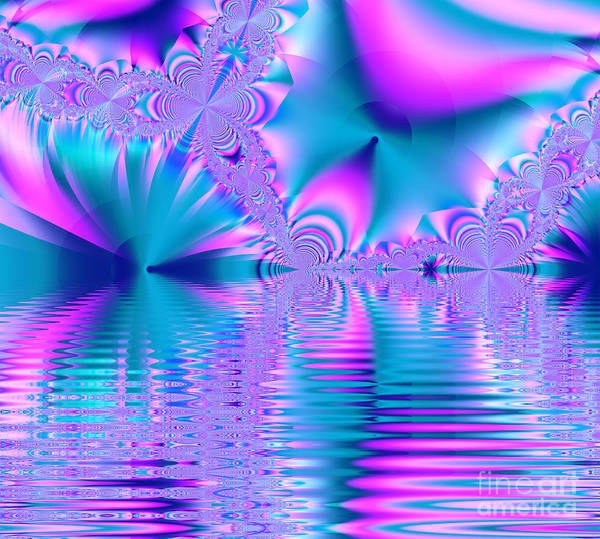 Digital Art - Pink, Blue And Turquoise Fractal Lake by Tracey Everington
