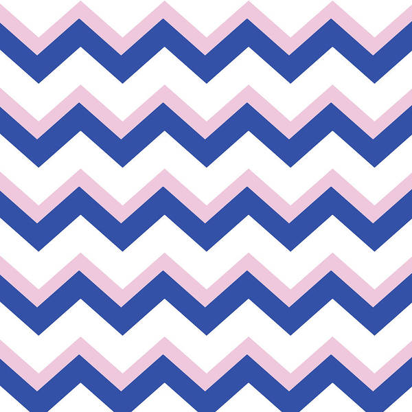 Mixed Media - Pink Blue Chevron Pattern by Christina Rollo