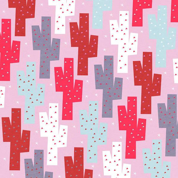 Dessert Digital Art - Pink Cactus Pattern by Yetiland