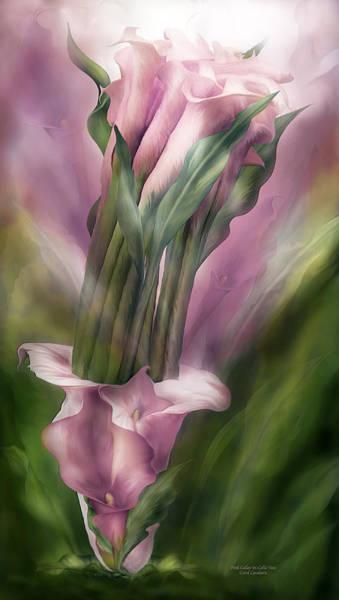 Mixed Media - Pink Callas In Calla Vase by Carol Cavalaris