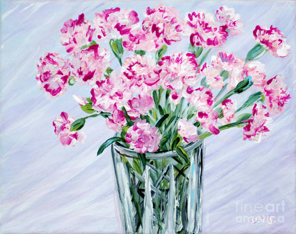 Painting - Pink Carnations In A Vase. For Sale by Oksana Semenchenko