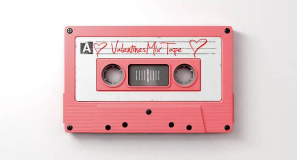 Play Music Digital Art - Pink Cassette Mix Tape by Allan Swart
