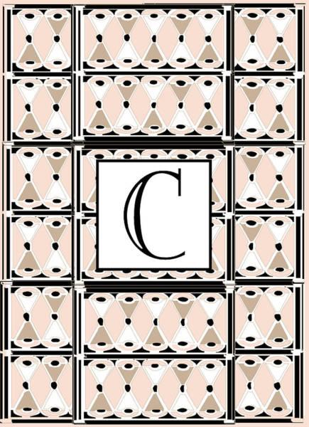 Wedding Gift Digital Art - Pink Champagne Deco Monogram  C by Cecely Bloom