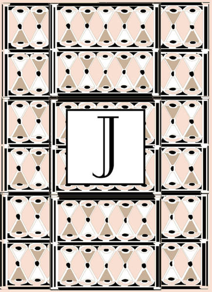 Digital Art - Pink Champagne Deco Monogram  J by Cecely Bloom
