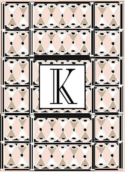 Digital Art - Pink Champagne Deco Monogram  K by Cecely Bloom