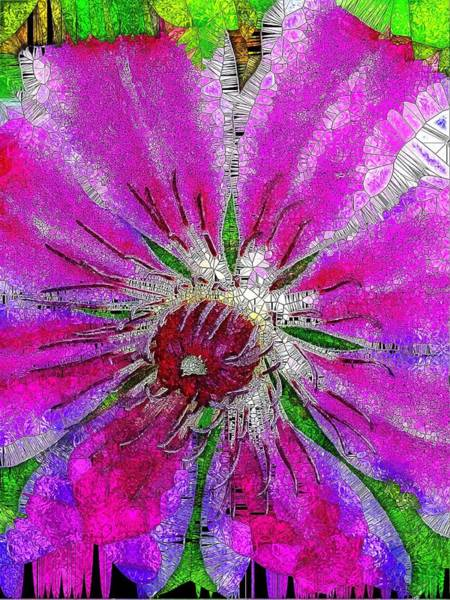 Climber Digital Art - Pink Clematis Stained Glass  by Mo Barton