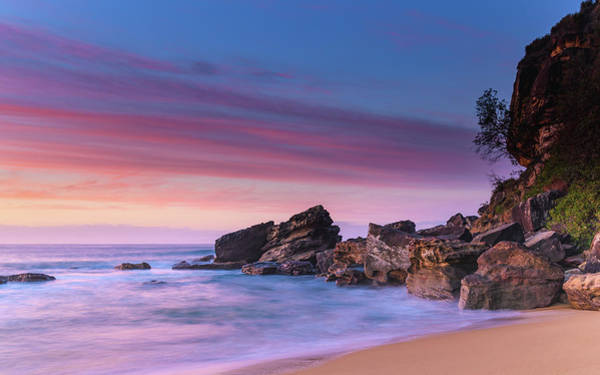 Killcare Photograph - Pink Clouds And Rocky Headland Seascape by Merrillie Redden