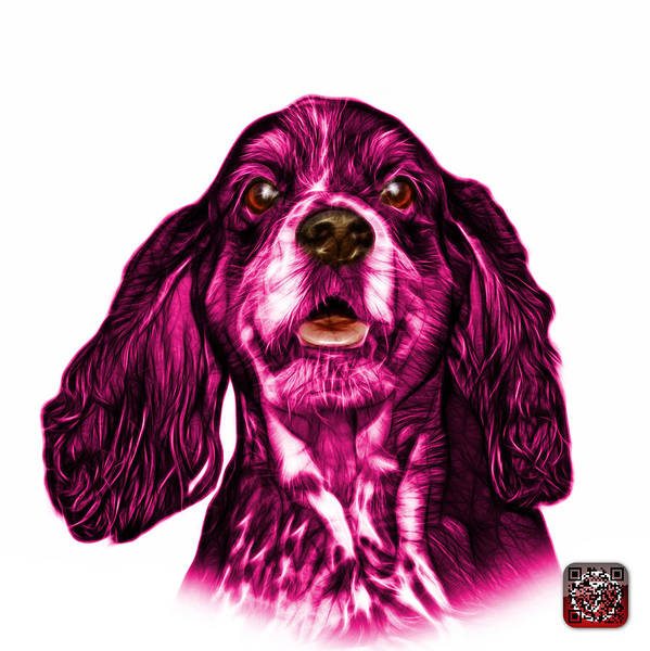 Mixed Media - Pink Cocker Spaniel Pop Art - 8249 - Wb by James Ahn