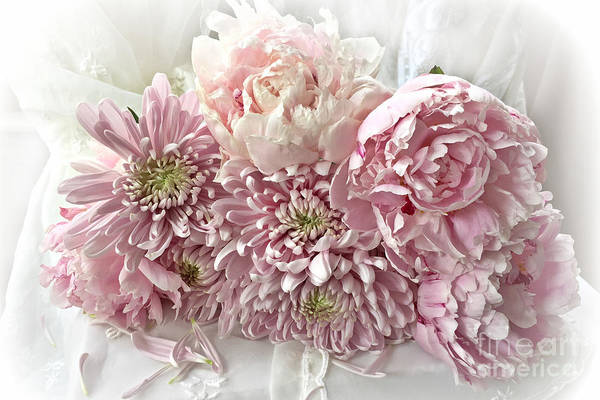 Carnation Photograph - Pink Cottage Chic Romantic Carnations Peonies Bouquet - Romantic Pink Peonies Cottage Floral Decor by Kathy Fornal