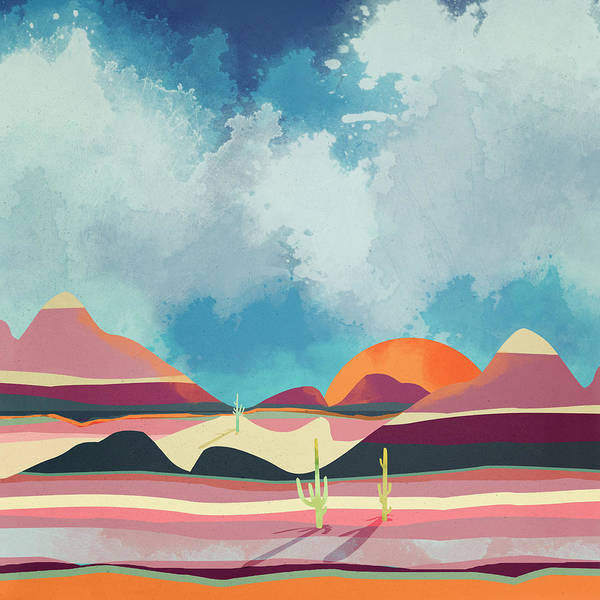 Wall Art - Digital Art - Pink Desert Glow by Spacefrog Designs