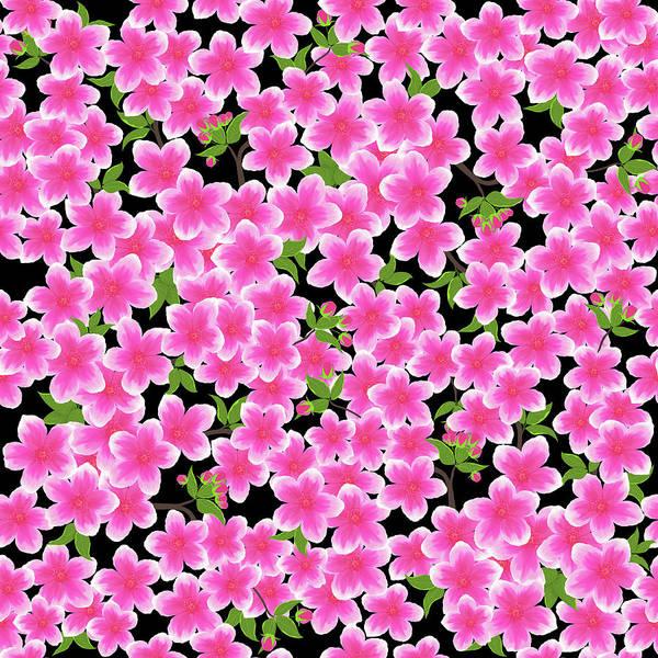 Wall Art - Digital Art - Pink Dogwood On Black by SharaLee Art