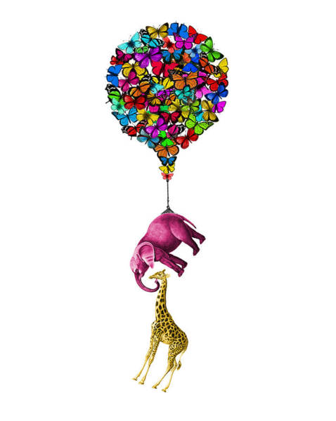 Wall Art - Digital Art - Pink Elephant And Giraffe Hanging From A Butterfly Balloon by Madame Memento