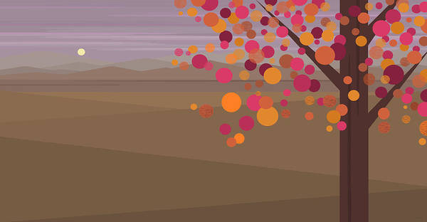Digital Art - Pink Evening Tree by Val Arie