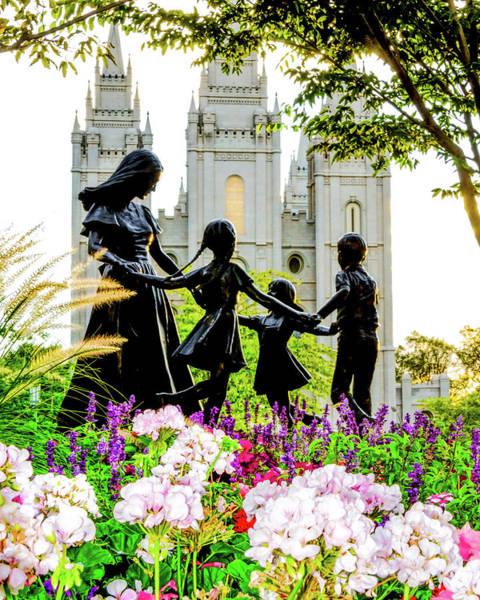 Mormon Photograph - Pink Family Slc Temple by La Rae  Roberts