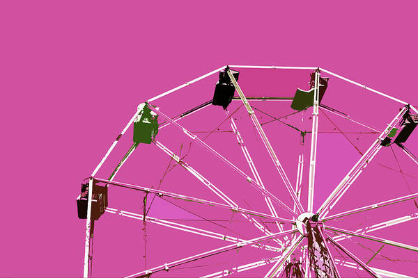 Neon Pink Painting - Pink Ferris Wheel by Glennis Siverson