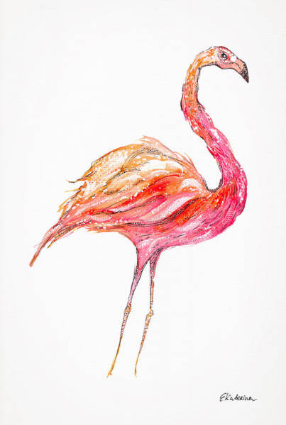 Painting - Pink Flamingo Bird by Ekaterina Chernova