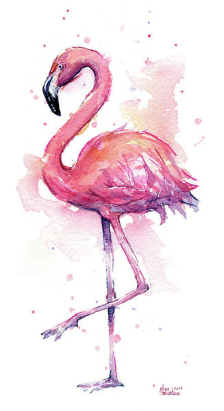 Right Painting - Pink Flamingo Watercolor Tropical Bird by Olga Shvartsur