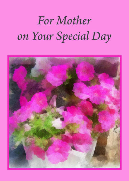 Digital Art - Pink Flower Card For Mother by Donald S Hall