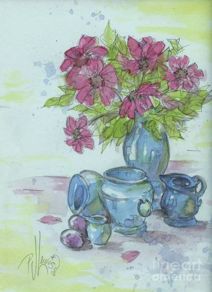 Floral Watercolor Drawing - Pink Flower With Blue Pottery by PJ Lewis