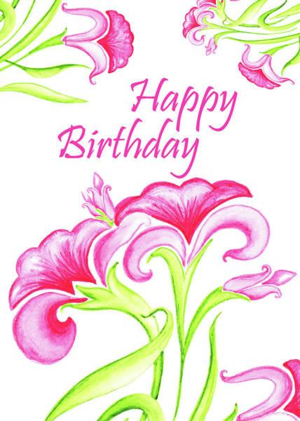 Painting - Pink Flowers Birthday Card by Irina Sztukowski