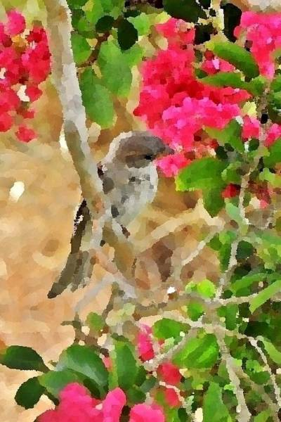 Photograph - Pink Flowers, Gray Bird by Kim Bemis