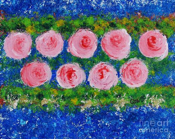 Pink Flowers On Green And Blue Art Print
