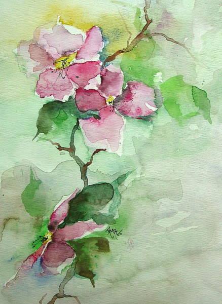 Pink Flowers On Branch Art Print