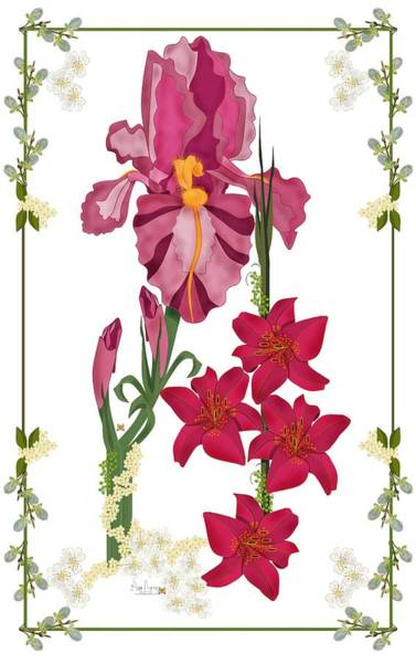 Wall Art - Painting - Pink Flowers With Willow Borders by Anne Norskog