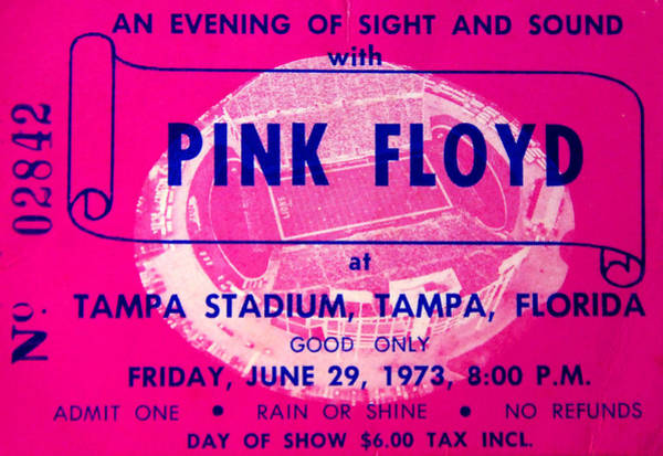 Wall Art - Photograph - Pink Floyd Concert Ticket 1973 by David Lee Thompson
