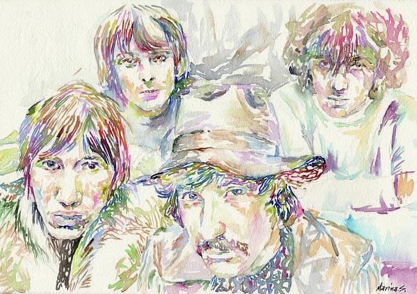 David Gilmour Painting - Pink Floyd W/ Syd by Marina Sotiriou