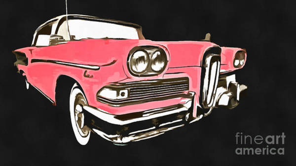 Collector Car Painting - Pink Ford Edsel Painting by Edward Fielding