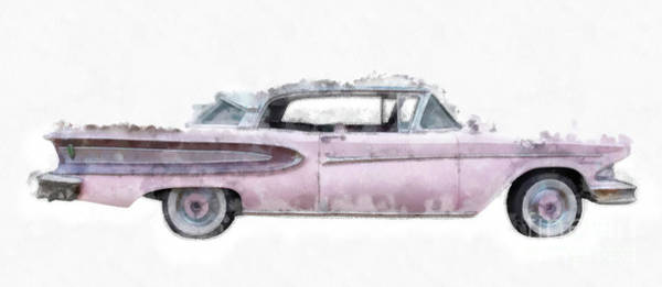 Wall Art - Painting - Pink Ford Edsel Watercolor Mug by Edward Fielding