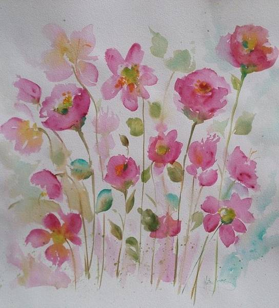 Painting - Pink Garden 2  by Kathy  Karas