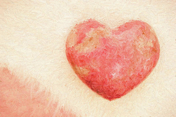 Pink Heart Soft And Painterly Art Print
