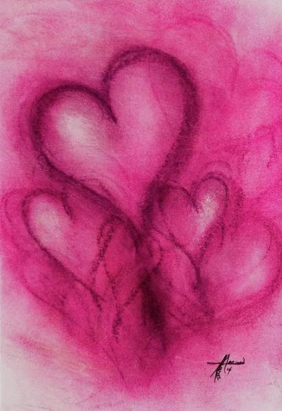 Drawing - Pink Hearts by Marian Palucci-Lonzetta