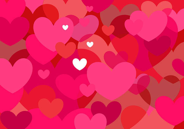 Digital Art - Pink Hearts by Val Arie