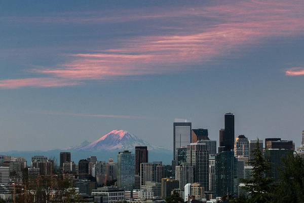 Photograph - Pink Highlights Over Seattle-mt. Rainier by E Faithe Lester