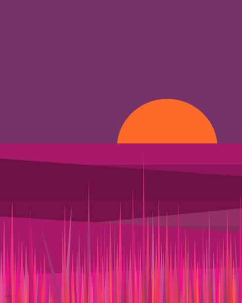 Digital Art - Pink Hills And Big Orange Sun by Val Arie
