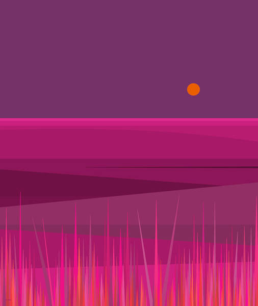 Wall Art - Digital Art - Pink Hills And Purple Sky by Val Arie