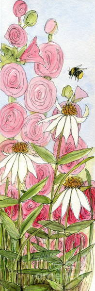 Pink Hollyhock And White Coneflowers Art Print